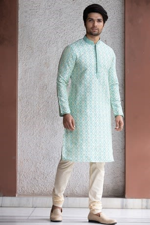 Pleasant Blue Kurta With White Embroidery