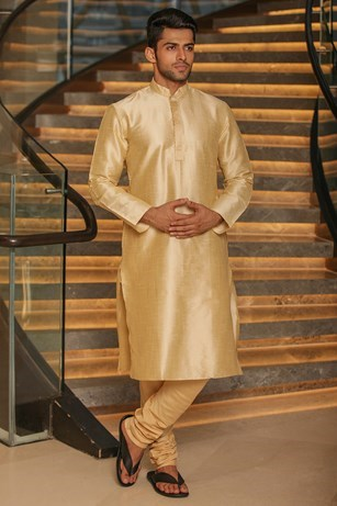 Textured Beige Kurta Set