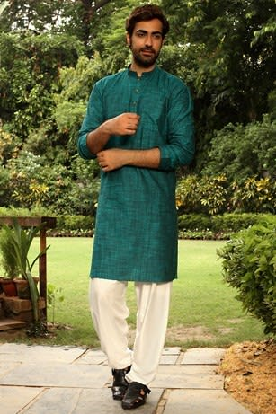 Green Cotton Kurta for Festival