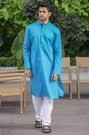 Elegant Blue Cotton Kurta