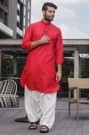 Bright Red Pathani Styled Kurta