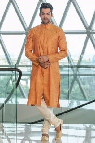 A Stylish Silk Jacquard Kurta