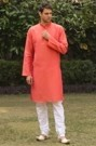 Light Orange Kurta with the Touch of Embroidery