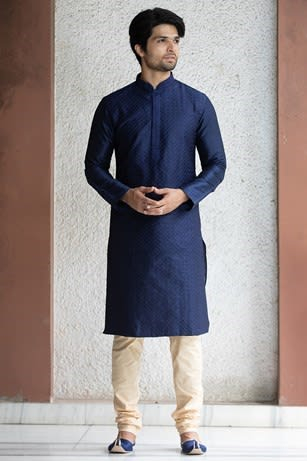 Blue Kurta With Light Embroidery Work