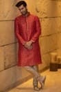 Flamboyant Red Kurta with Golden Work