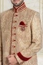 Light Brown Embroidered Indo-Western