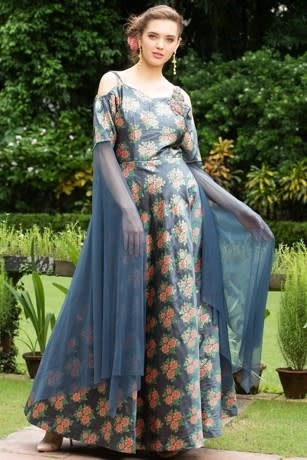 Cold-Shoulder Floral Print Gown With Flair Net Sleeves
