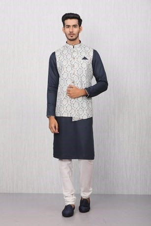 Floral Blue Kurta Jacket Set