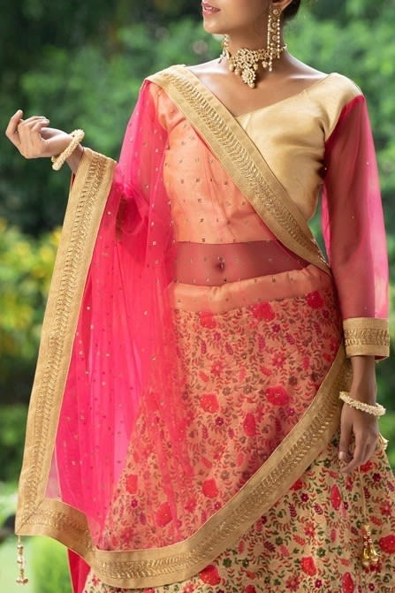 Floral Embroidered Fawn Bridal Lehenga