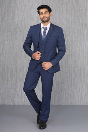 Streaked Blue Terry Rayon Suit