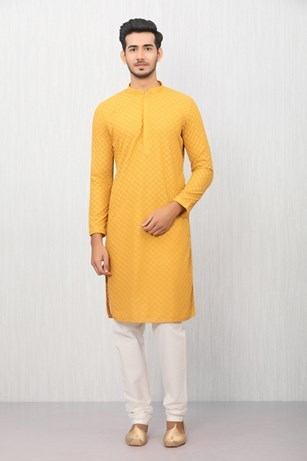Light Orange Embroidered Kurta