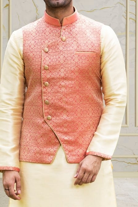 Majestic Pink Jacket With Golden Work