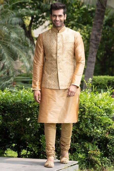 Classic Embroidered Jacket with Solid Kurta Set