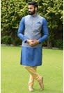 Perfect Ethnic Feroze Blue Kurta-Jacket Set
