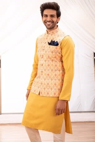 Modern Cut Orange Kurta Jacket set