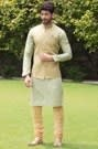 Green Kurta Jacket Set with Light Work
