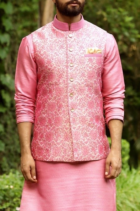 Floral Embroidered Jacket With Solid Kurta Set