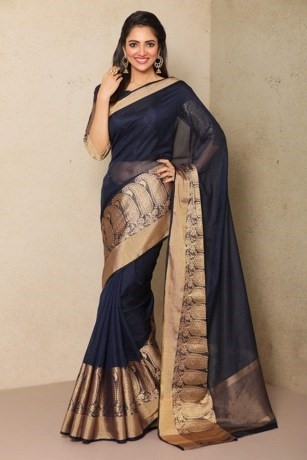 True to blue classic Blended Silk saree
