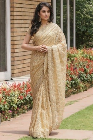 Sophisticated Ethnic Embroidered Fawn Saree