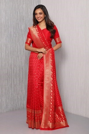 Traditional Red Blended Silk Saree