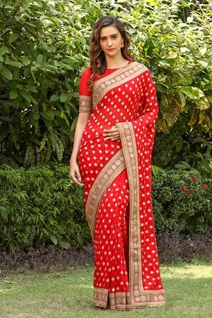Bright red saree