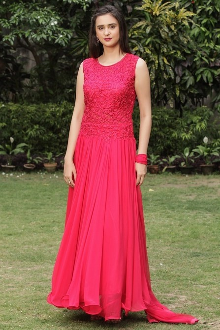 Fiery Red Flared and Embroidered Suit