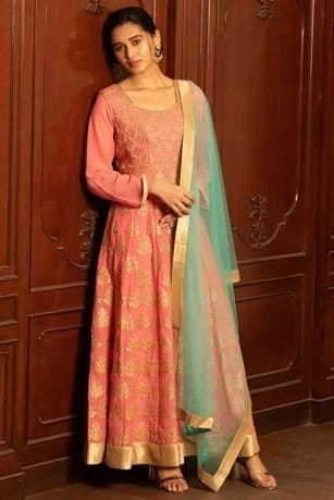 Beautiful Pink Suit with Heavy Golden Work All Over