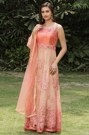 Angelic Orangish Peach Ombre Embroidered Suit