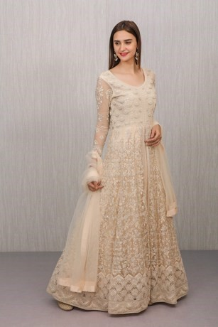 Cream Embroidered Subtle Gown