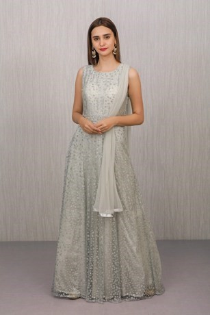 Graceful Grey Hand Embroidered Gown