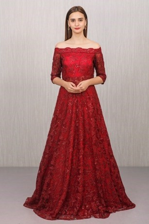 Bold Maroon Embellished Gown