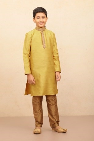 Sober Kurta Set with a Touch of Zardozi Work for Kids