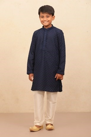 Stylish Blue colored Kurta set with Churidar for Kids
