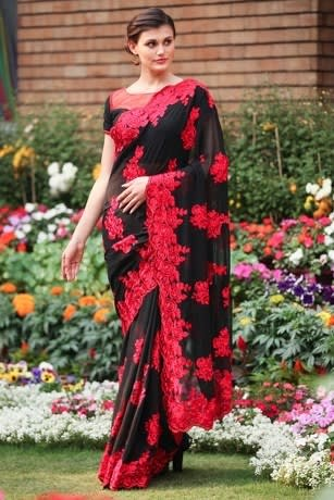 Beautiful Black Saree with Heavy Red Embroiedry