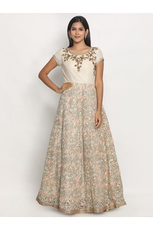 Elegant Floral Embroidered Fawn Gown