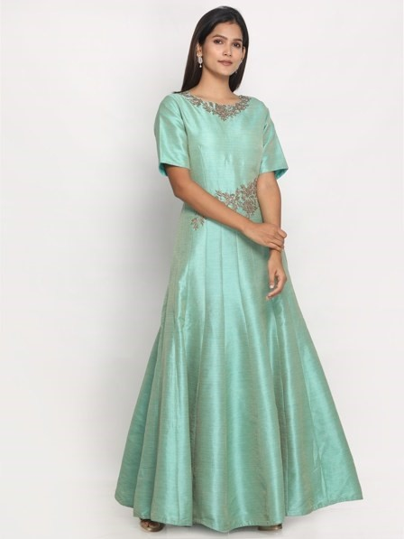 Elegant Hand Embroidered Green Gown