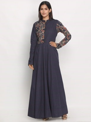 Beautifully Embroidered Blue Gown