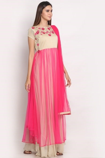 Stylish hand embroidered stitched suit