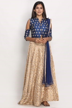 Beautifully Embroidered Blue Fawn Suit