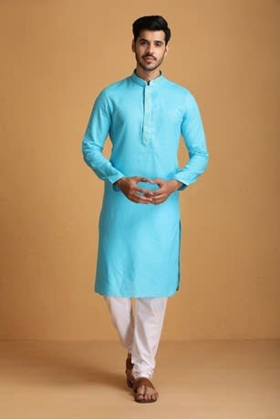 Manyavar Self design Firoze Embrodey Placket Kurta Set