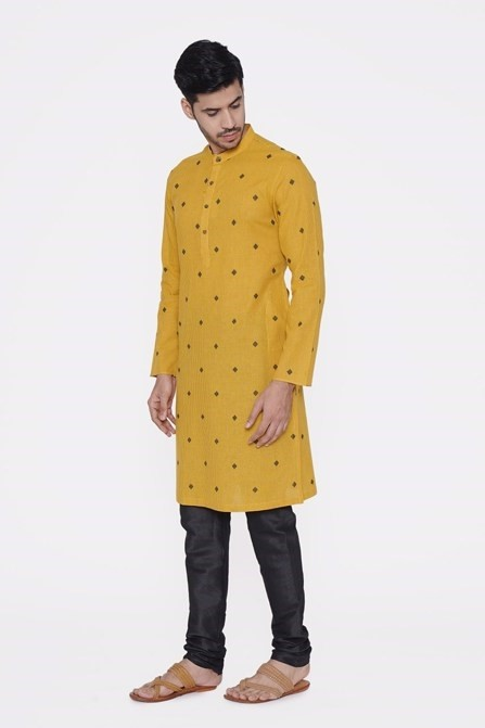 Stripes Yellow Kurta with Red Booti All Over