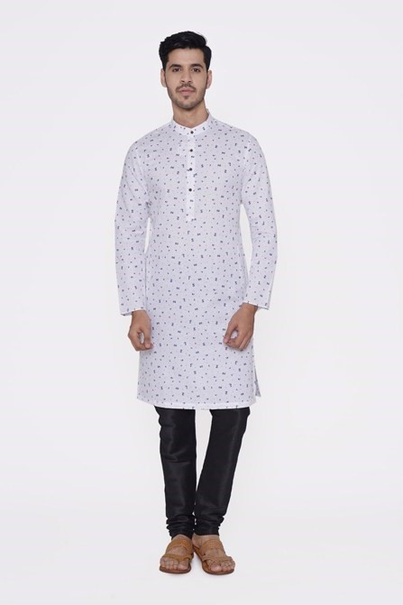 White Kurta with Blue Floral Work