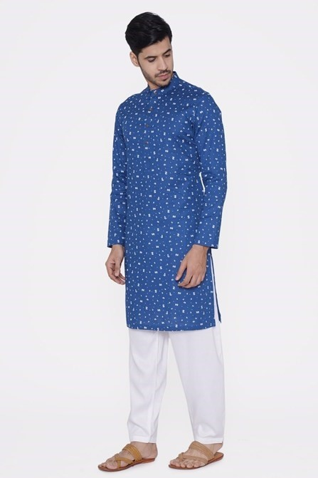 Blue Kurta with White Floral Work