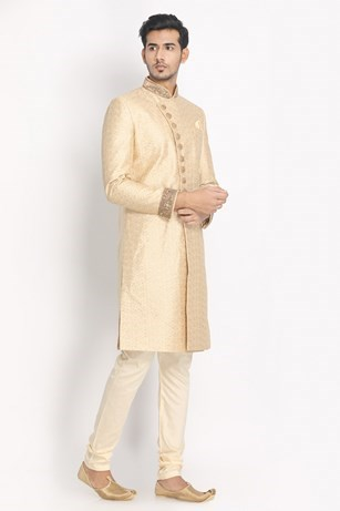 Aesthetic Beige Patterned Sherwani