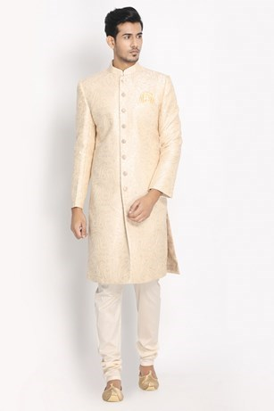 Magnificent Patterned Cream Sherwani