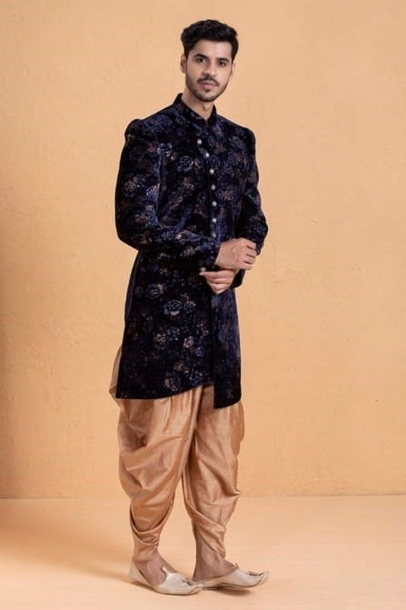 Wave your classic blue indo western patiala set