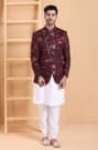 Finest fabric with chinese collar indo western set in maroon