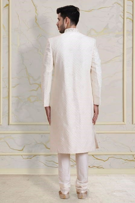 exquisite off white sherwani set with classy laced dupatta