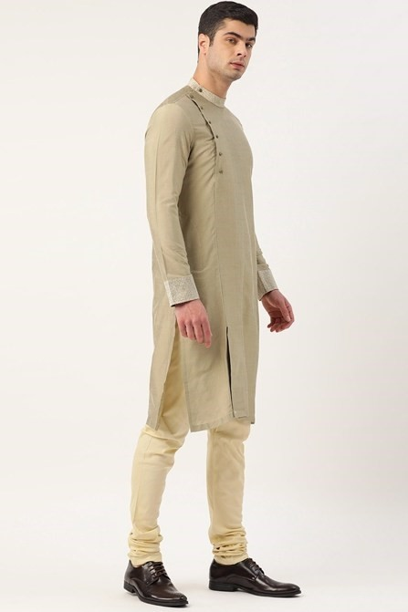 Fancy PistaColour Kurta with Printed Stitch Line Detailing in Collar