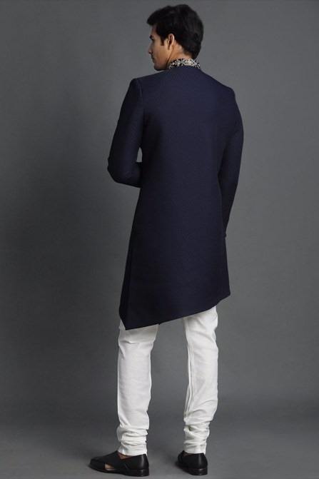 Tailored navy blue Indo-western